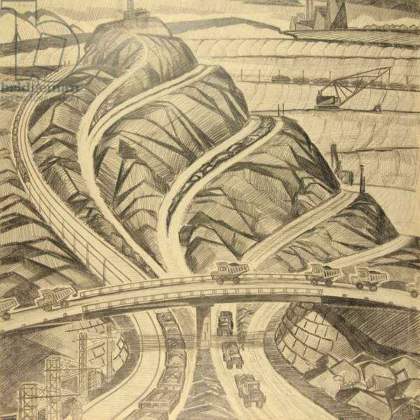 Roads, 1967 (pencil on paper)