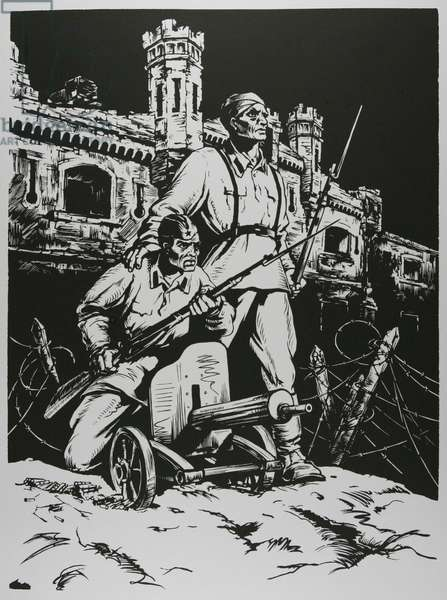 Defenders of the Soviet Union - Soldiers, 1957 (linocut)