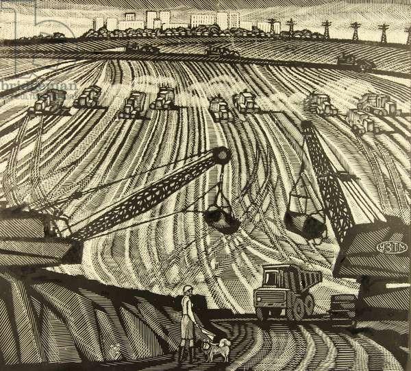KMA, Opening the Mine, The Stoilenskii Ore, 1967 (linocut)