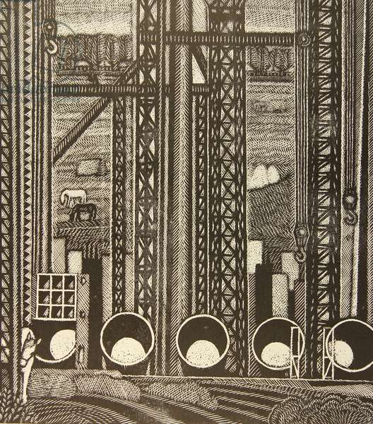 Building the Oskol Electrometallurgical Industrial Complex, 1978 (linocut)