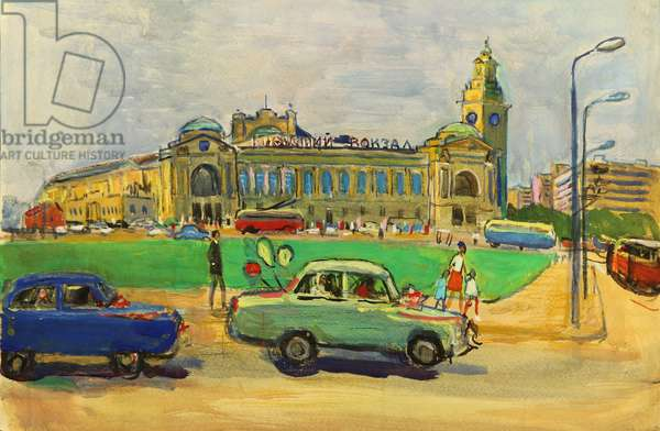 Kievsky Train Station with a Newlywed Car in the Foreground, 1970 (tempera on paper)