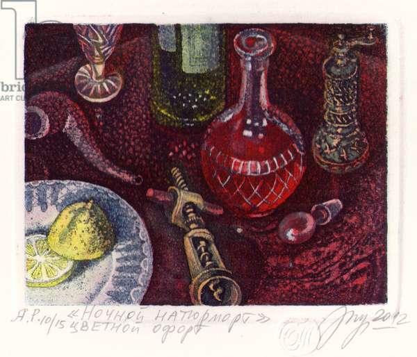 Night Still Life, 2012 (colour etching)