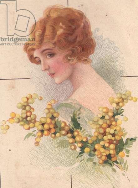 Woman with plant, 1900s (colour litho)
