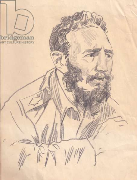 Fidel Castro, 1962 (pencil on paper)