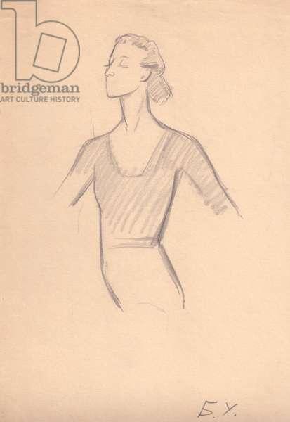 Prima Ballerina Assoluta Maya Plisetskaya, 1968 (pencil on paper)