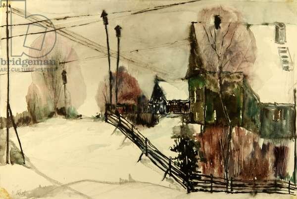 Russian Village in Winter, 1970 (gouache on paper)