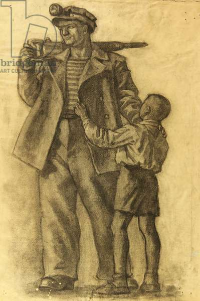 Worker and Pioneer, 1949 (charcoal on paper)