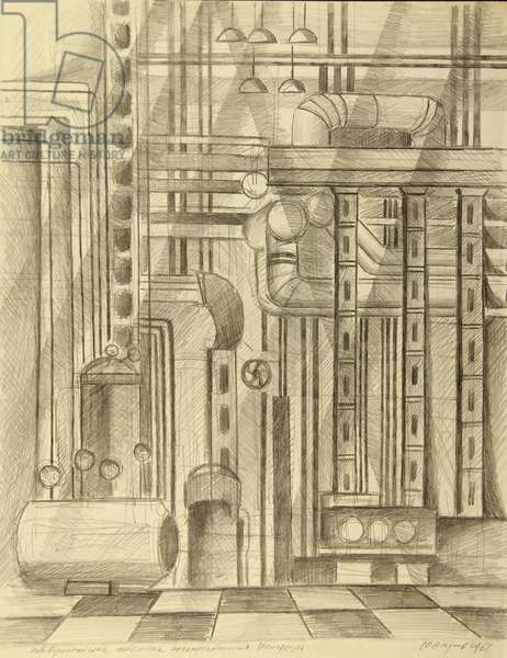 Interior of the Novovoronezh Nuclear Plant, 1961 (pencil on paper)