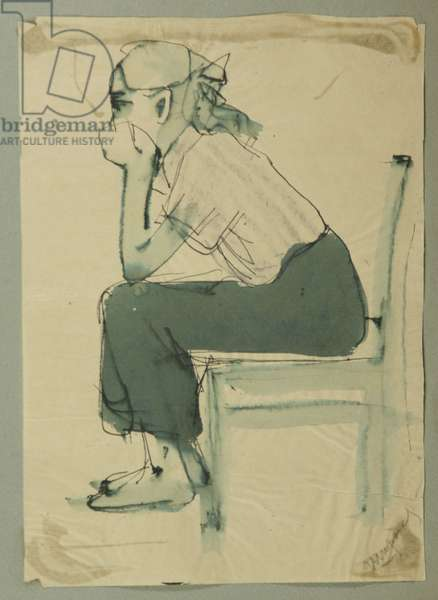 Girl on Chair, c.1950 (tempera on paper)