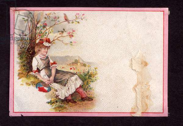 Girl sitting under a tree, 1900s (colour litho)
