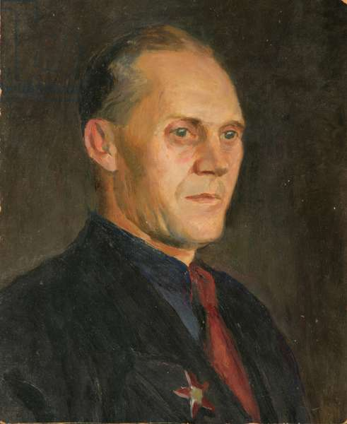 Portrait of a Man with War Medal, 1950s (oil on card)