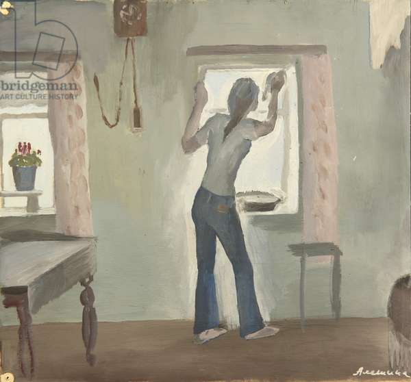 Cleaning Windows, 1970s (tempera on paper)