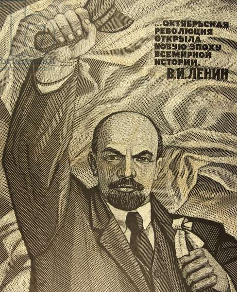 The October Revolution Opened a New Era in World History, 1986 (linocut)