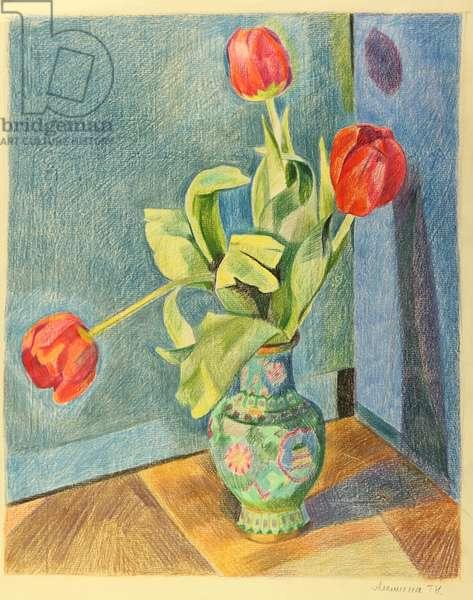 Three Tulips in Vase, 1980 (pastel on paper)