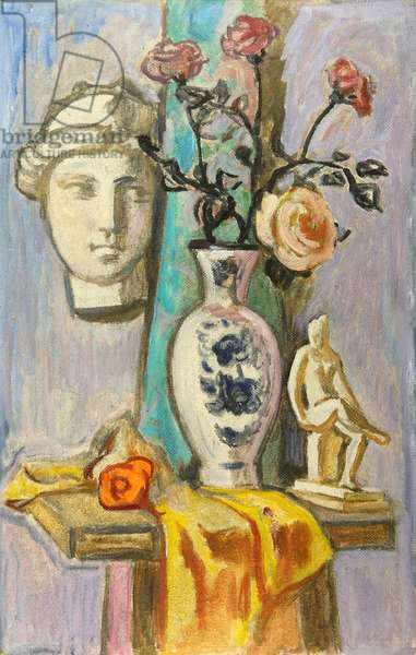 Still Life on Chair with Roses in Vase and Figurines, 1994 (oil on board)