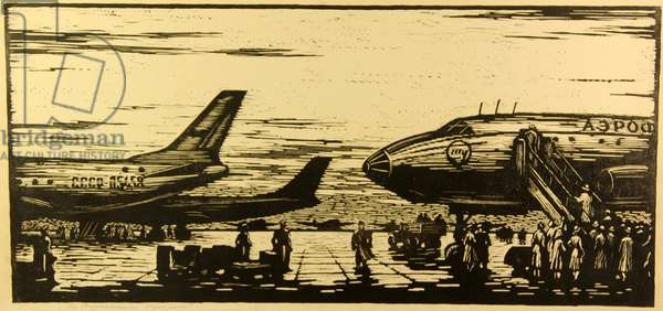 At the Vnukovo Airport in Moscow, 1960 (linocut)