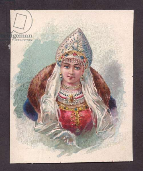 Woman in traditional dress, 1900s (colour litho)