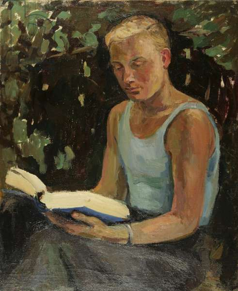Young Man Reading, 1930s (oil on canvas)
