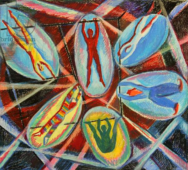 Acrobats in the Trapezes, 1980 (pastel on paper)