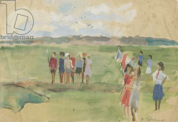Pioneers in the Field, 1950s (w/c on paper)
