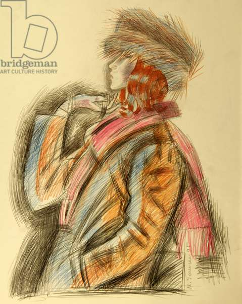Woman in Fur Coat and Fur Hat, 1995 (colour pencil on paper)