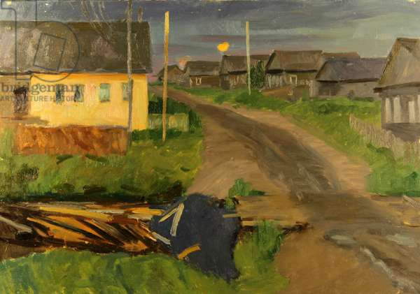 Village Street by Night, Karelia, 1965 (oil on card)