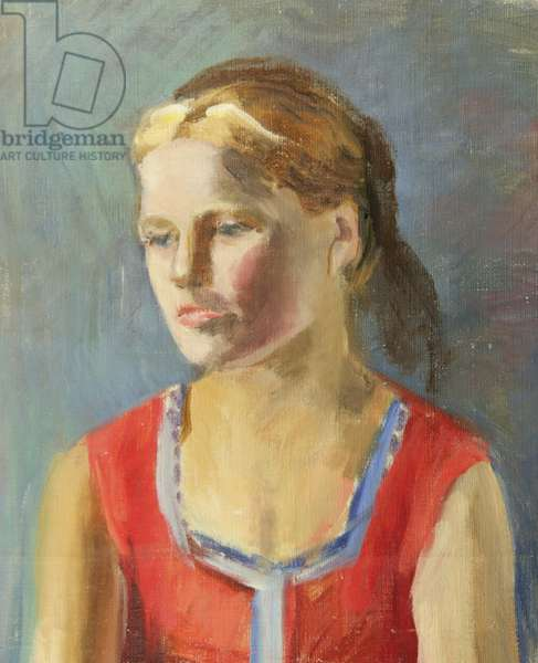 Girl in Red Shirt, 1930s (oil on canvas)
