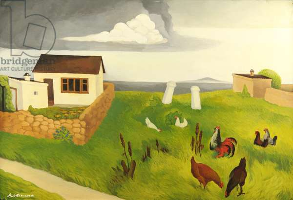 Small House in Kerch, Crimea, with Hens, 1974 (tempera on paper)