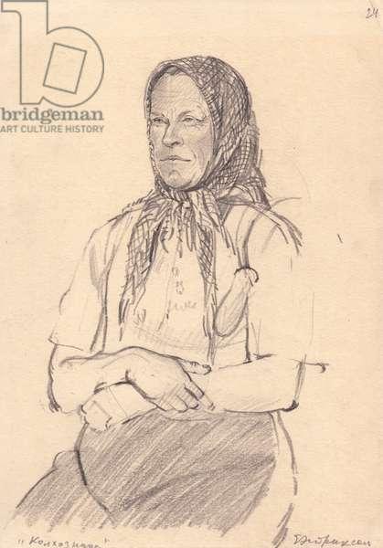 Kolkhoz Worker Woman, 1930s (pencil on paper)