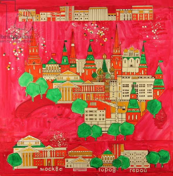 Moscow. Design sketch for a scarf, 1980 (gouache on paper)