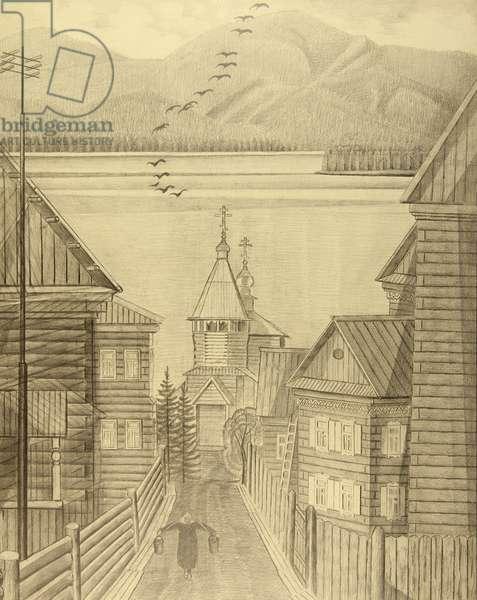 Village on the Baikal Lake, 1981 (pencil on paper)