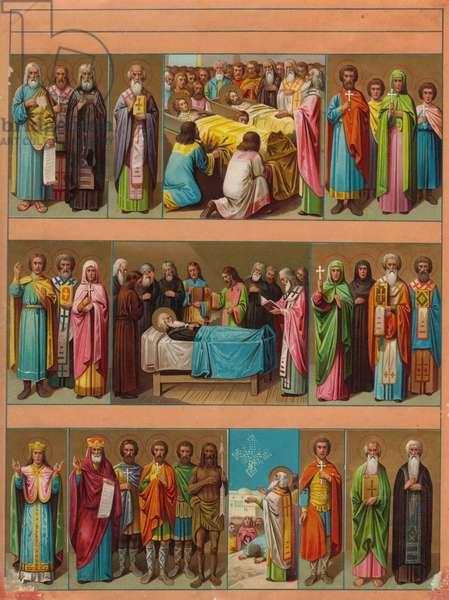 Religious scene, 1900s (colour litho)