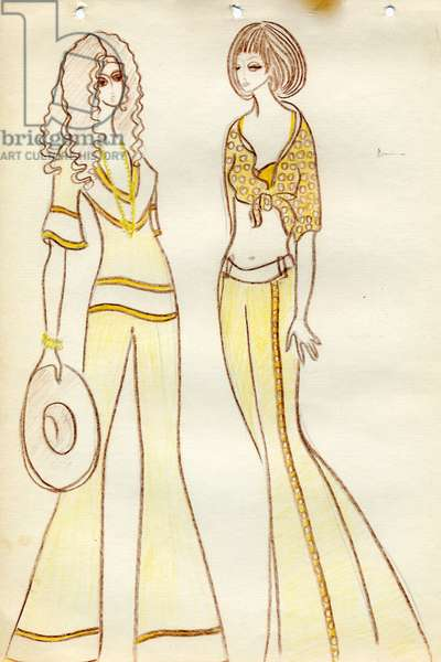 Fashion Design Sketch, c.1970 (coloured pencils on paper)
