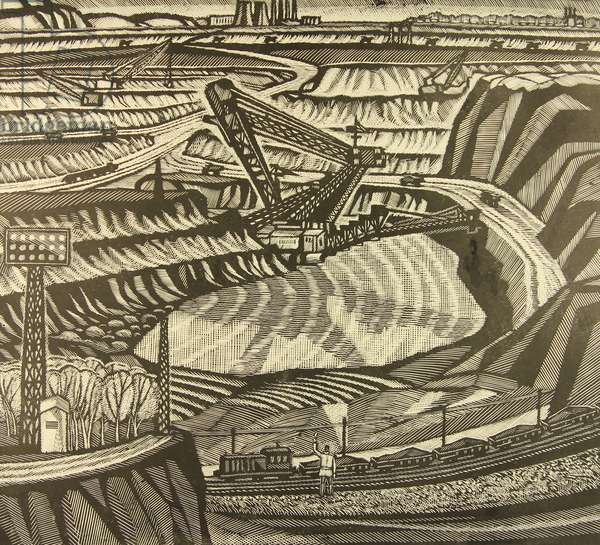 Mining. The Kursk Magnetic Anomaly, 1969 (linocut)