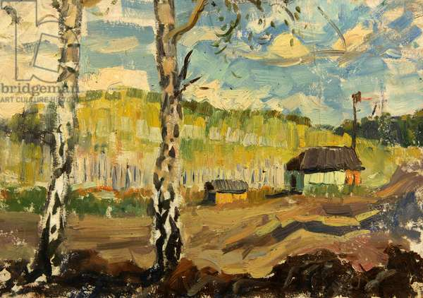 Birch Trees, 1964 (oil on card)