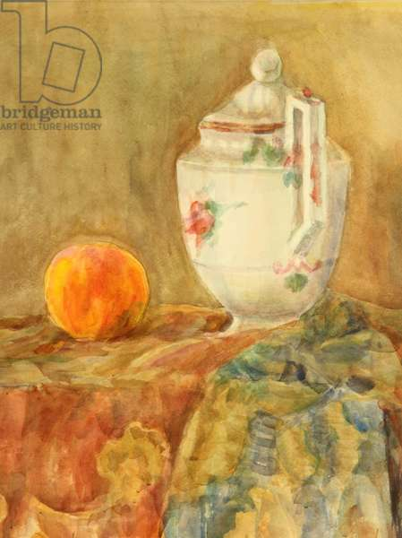 Still Life with Teapot and Peach, 1966 (w/c on paper)