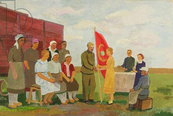 Women's Tractor Brigade, 1942-43 (tempera on card)