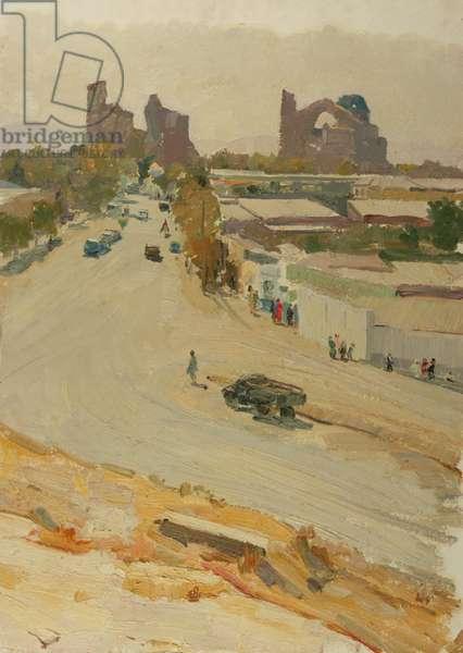 Uzbek Town, 1950s (oil on card)