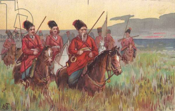 Soldiers on horseback, 1900s (colour litho)