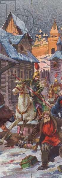 Warriors raid a village, 1900s (colour litho)
