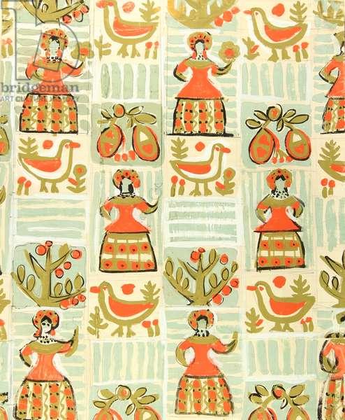 Textile Design, 1962 (tempera on paper)