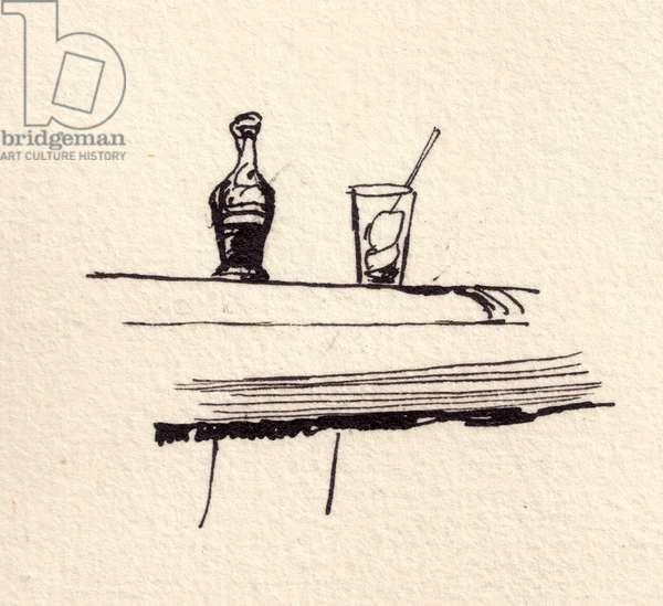 Bottle of Coca Cola, 1980 (Indian ink on paper)