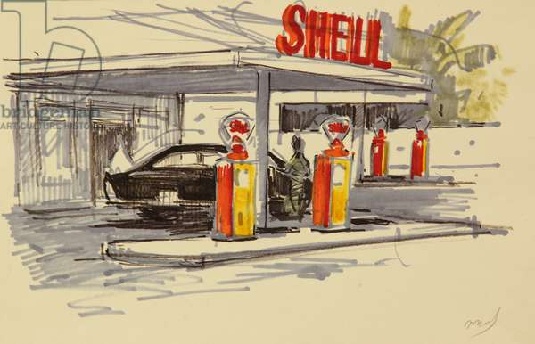 Shell Petrol Station in Sri Lanka, 1960 (tempera on paper)