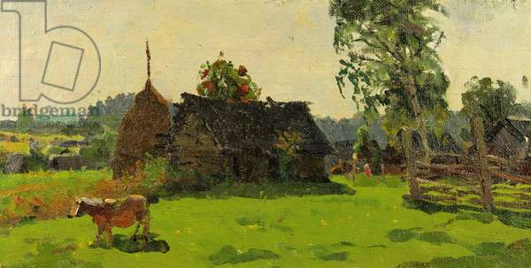 Cottage with Cow, 1960s (oil on canvas)