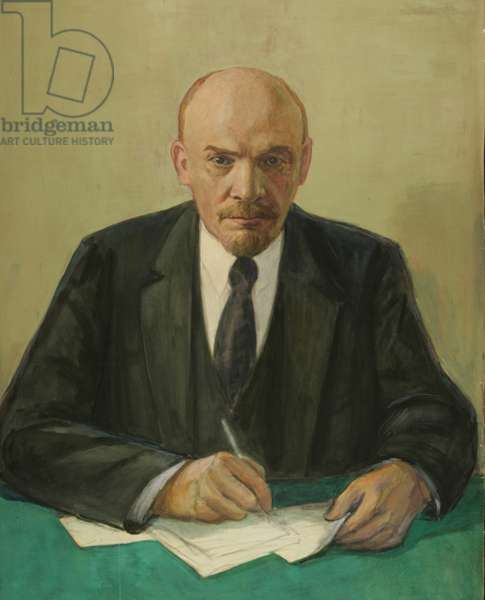 Lenin By His Desk, 1960s (tempera on paper)