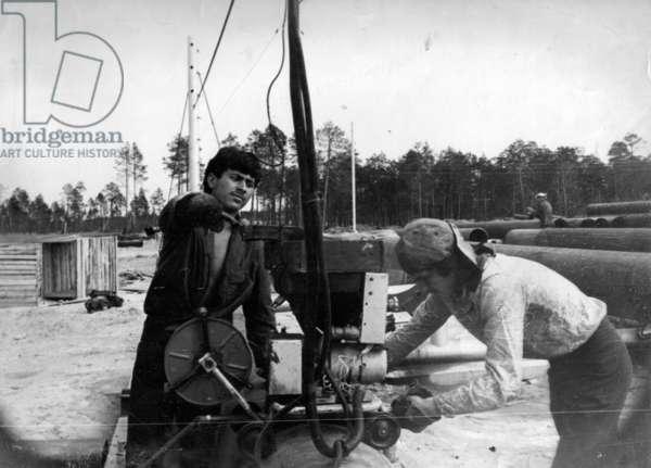 Workers, 1977 (b/w photo)