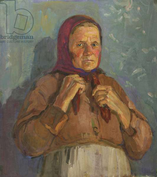 Old Woman in Scarf, 1960s (tempera on card)