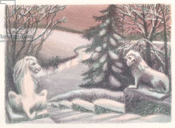 Winter in Pavlovsk, 2014 (colour litho)