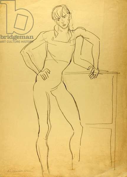 Principal Dancer of the Bolshoi Ballet Vladimir Vasiliev, 1976 (pencil on paper)