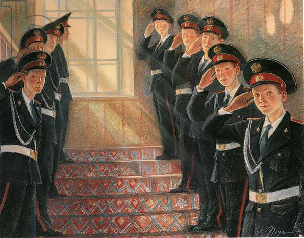 Parade of the Police Academy Students, 2008 (colour litho)